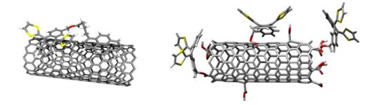 Scheme: Leading examples of non-covalent (i.e., nanohybrids) and covalent (i.e., nanoconjugates) electron-donor-acceptor ensembles based on single wall carbon nanotubes and extended TTF as electron acceptors and electron donors, respectively. (Image: FAU)