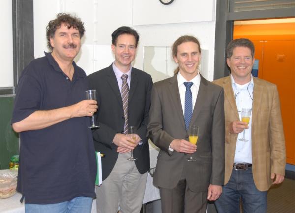 The comission and the examinee (left to right): Prof. Patrik Schmuki, Prof. Jörg Libuda, Michael Schirmer, Prof. Hans-Peter Steinrück (image: Marbach)
