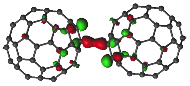 Two fullerenes close to each other that have trapped an electron which now forms a bond (large, central red blob) between the two, CASSCF(5,4)/ANO-L-VDZ. JACS, 2014 (image: Shubina)
