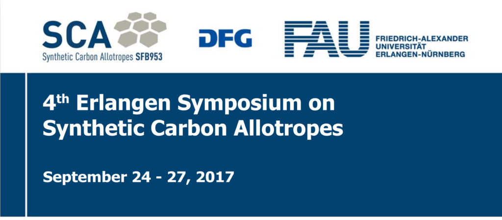 Visual Link to the upcoming fourth symposium on synthetic carbon allotropes, hosted by the sfb953 in erlangen from september 24th to 27th
