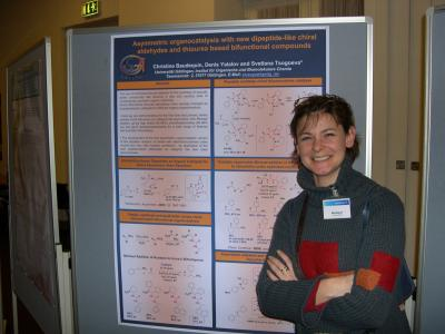 "Christine presents her poster at the SPP 1179 ""Organocatalysis"" Meeting in Mühlheim/Ruhr (Image: Tsogoeva)"