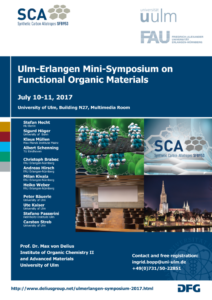 List of speakers, Contact, and dates of the 1st ulm-erlangen mini-symposium on functional organic materials , no information that is not found on the webpage