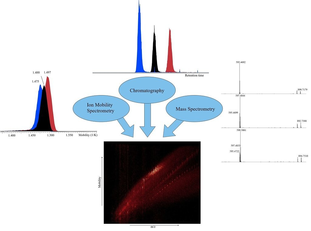 Picture showing three chromatographic peaks together with matching Mobilograms and MSMS Spectra as well as a heatmap of m/z values vs mobility showing a high number of signals