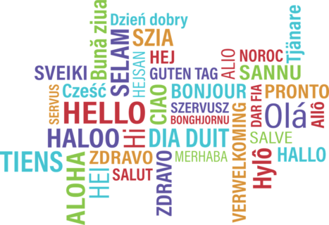 "The picture shows the text ""hello"" in several languages."